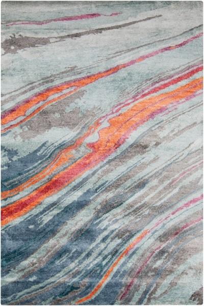 Burnt Orange, Mint, Cherry Contemporary / Modern Area Rug