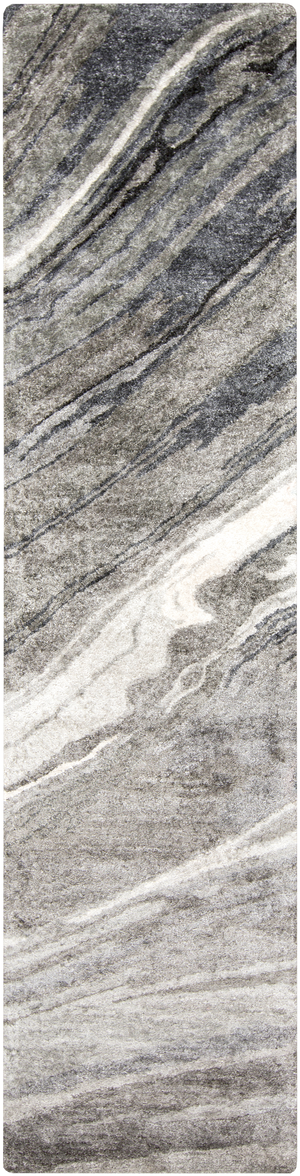 Charcoal, Gray, Light Gray, Ivory Transitional Area Rug