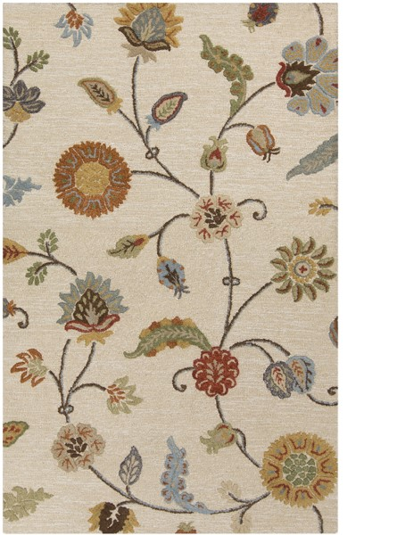 Taupe, Burnt Orange, Olive (SRT-2002) Floral / Botanical Area Rug