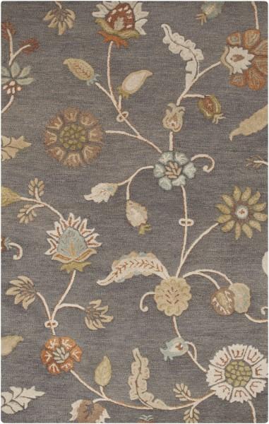 Slate, Teal, Rust (SRT-2010) Floral / Botanical Area Rug