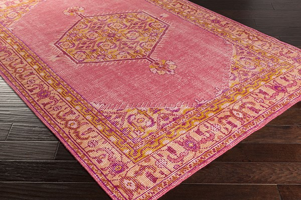 Bright Pink, Coral, Terracotta, Garnet Traditional / Oriental Area Rug