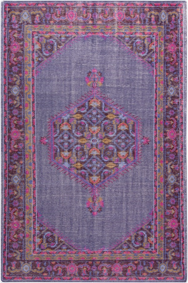 Dark Purple, Fuchsia, Bright Red, Dark Purple Traditional / Oriental Area Rug