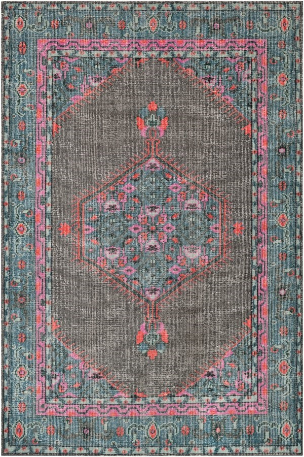 Charcoal, Teal, Bright Pink, Aqua, Light Gray Traditional / Oriental Area Rug