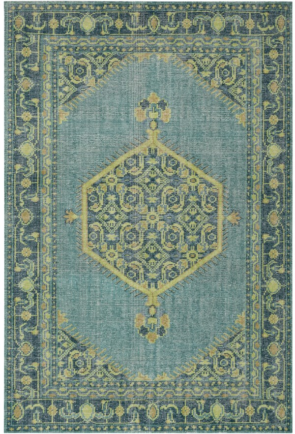 Emerald, Olive, Lime, Aqua, Light Gray Traditional / Oriental Area Rug