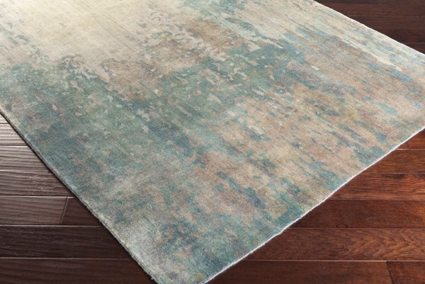 Teal, Ivory, Camel, Taupe, Light Gray, Charcoal Transitional Area Rug