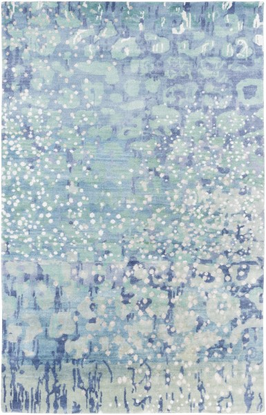 Sky Blue, Sea Foam, Lime Contemporary / Modern Area Rug