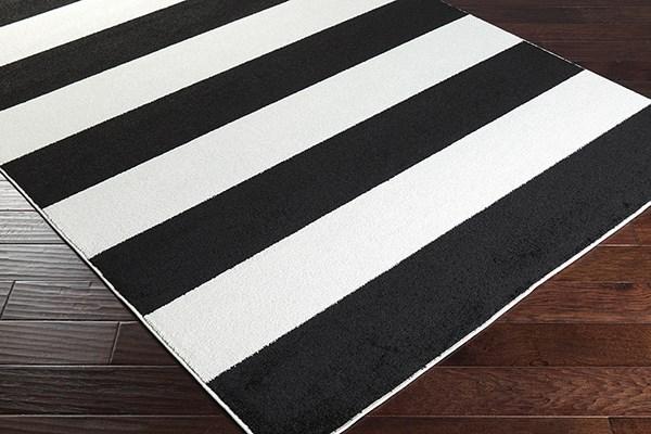 Black, Ivory Striped Area Rug