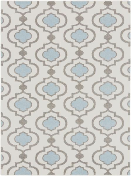 Ivory, Charcoal, Denim Contemporary / Modern Area Rug