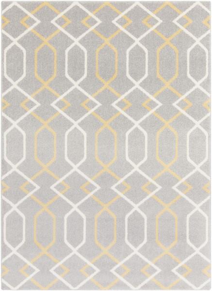 Gray, Ivory, Mustard Contemporary / Modern Area Rug