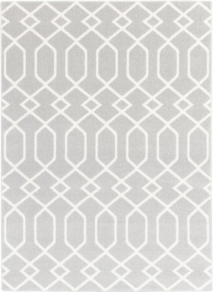 Gray, Ivory Contemporary / Modern Area Rug