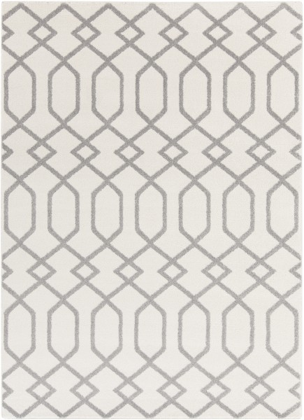Ivory, Gray Contemporary / Modern Area Rug