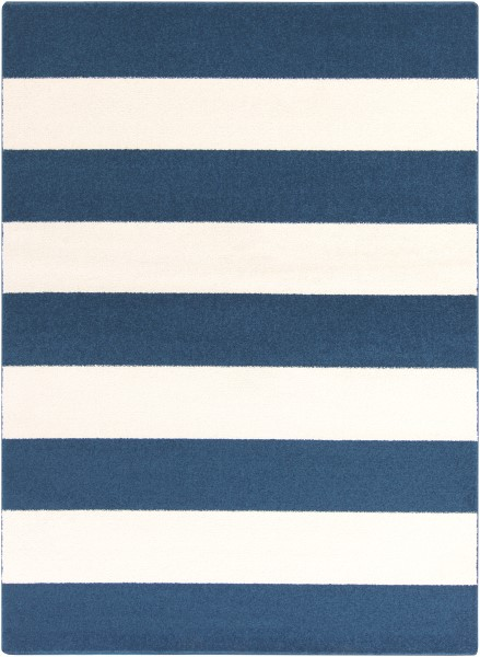 Cobalt, Ivory Striped Area Rug