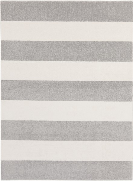 Gray, Ivory Striped Area Rug