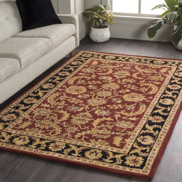 Maroon, Black (AWOC-2001) Traditional / Oriental Area Rug