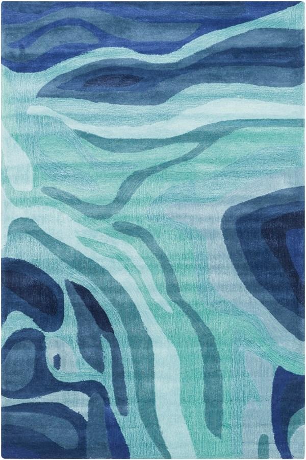 Teal, Iris Contemporary / Modern Area Rug