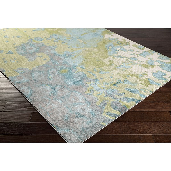 Teal, Lime, Light Gray Contemporary / Modern Area Rug