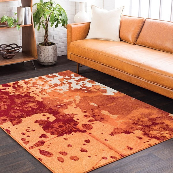 Bright Orange, Rust, Bright Yellow Contemporary / Modern Area Rug