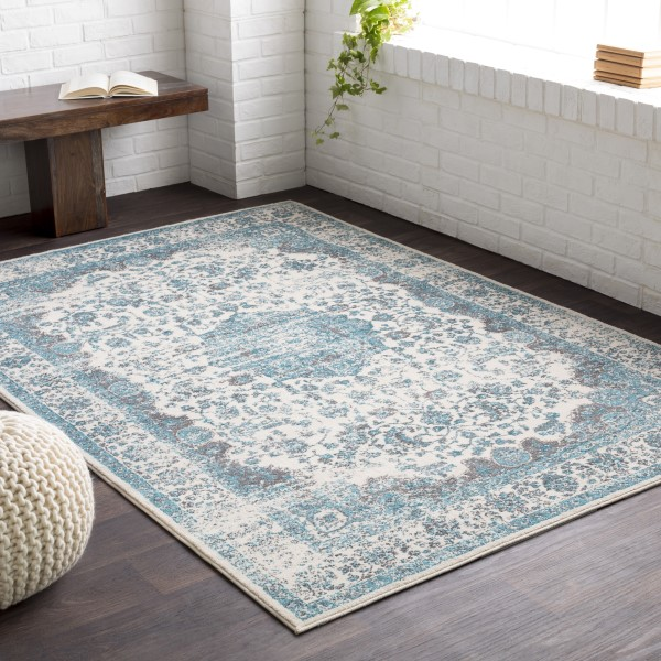 Teal, Light Gray, Ivory Vintage / Overdyed Area Rug