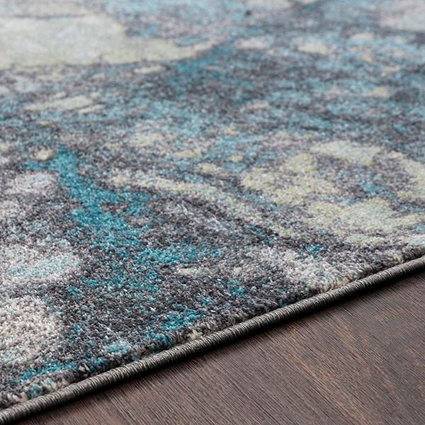 Teal, Charcoal, Lime, Light Gray Contemporary / Modern Area Rug