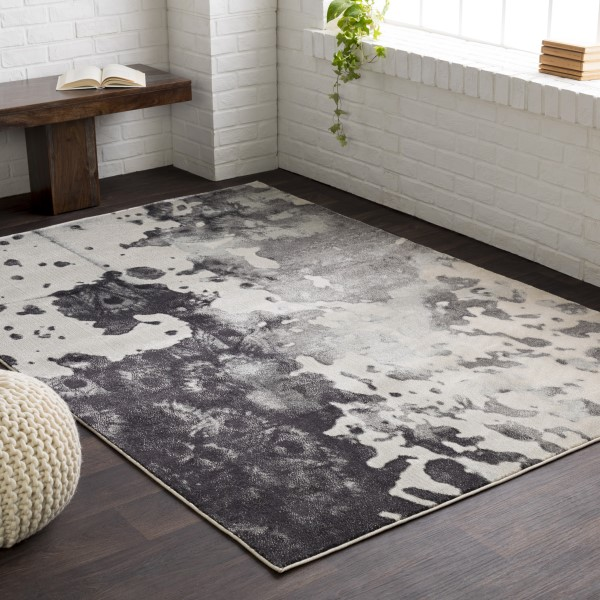 Gray, Light Gray, Charcoal Transitional Area Rug