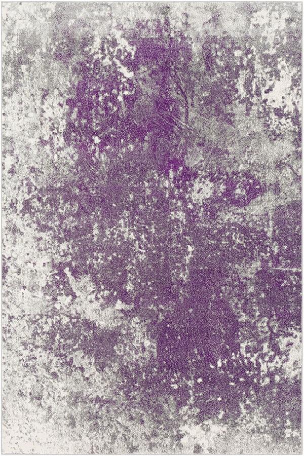 Medium Grey, Dark Purple, Cream Abstract Area Rug