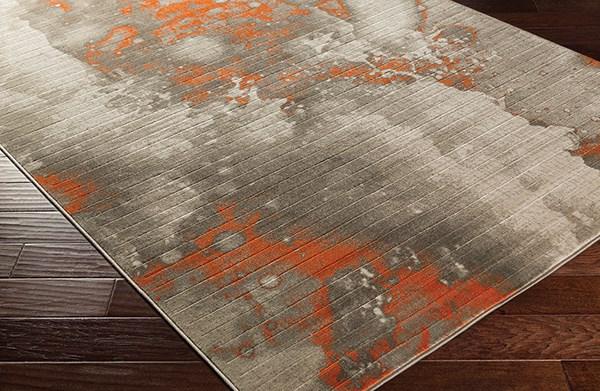 Burnt Orange, Light Gray, Dark Brown Contemporary / Modern Area Rug