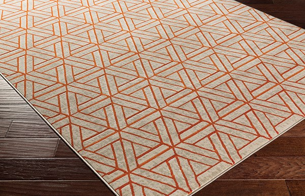Burnt Orange, Light Gray, Dark Brown Moroccan Area Rug
