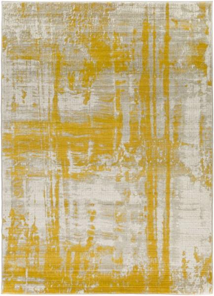 Light Gray, Mustard, Dark Brown Contemporary / Modern Area Rug