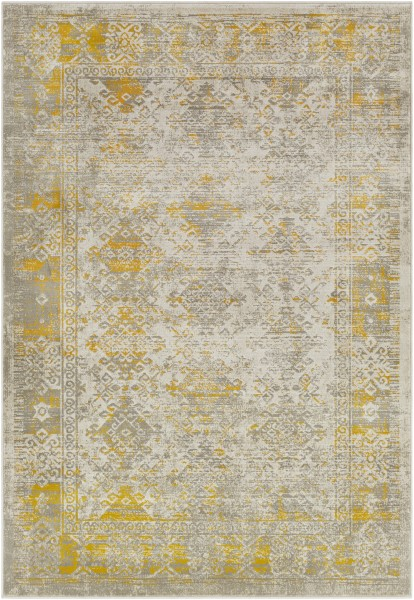 Mustard, Dark Brown, Taupe, Light Gray Vintage / Overdyed Area Rug