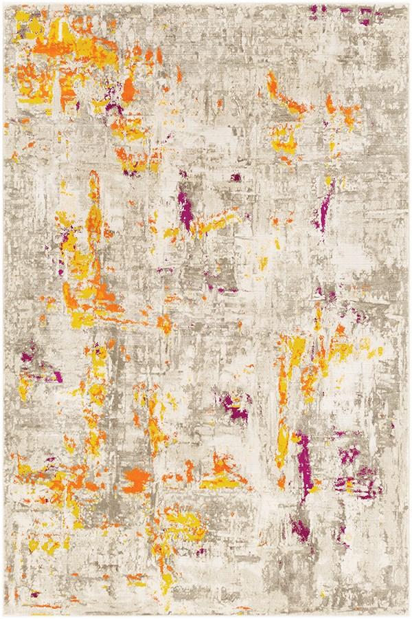 Burnt Orange, Mustard Abstract Area Rug