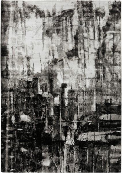 Black, Ivory, Medium Gray, Charcoal Contemporary / Modern Area Rug