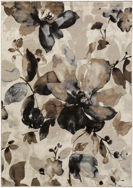 Black, Tan, Camel, Medium Gray Floral / Botanical Area Rug