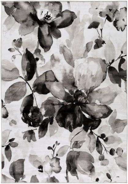 Black, Charcoal, Medium Gray Floral / Botanical Area Rug
