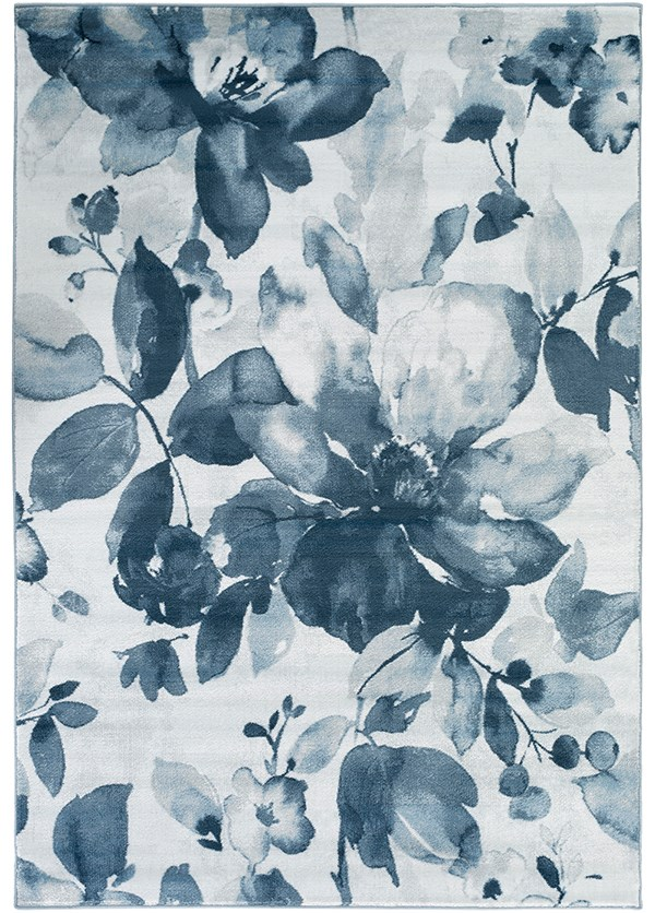 Denim, Navy, Light Gray, Ivory Floral / Botanical Area Rug