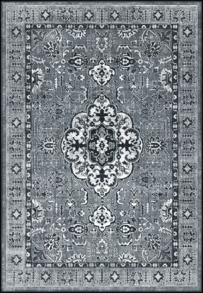 Medium Gray, Light Gray Traditional / Oriental Area Rug