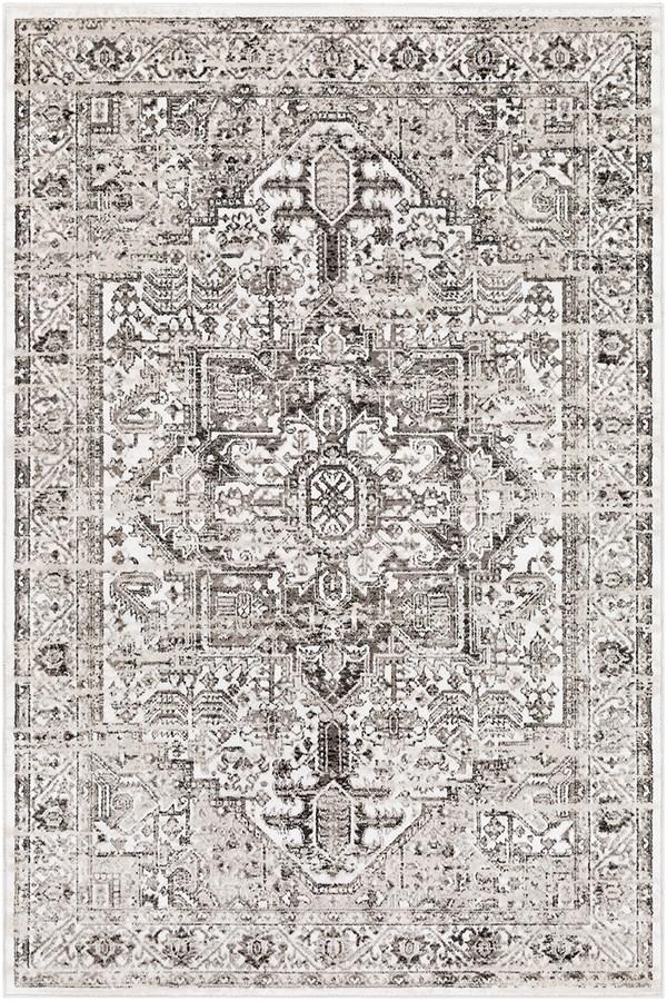Black, White, Medium Gray Vintage / Overdyed Area Rug