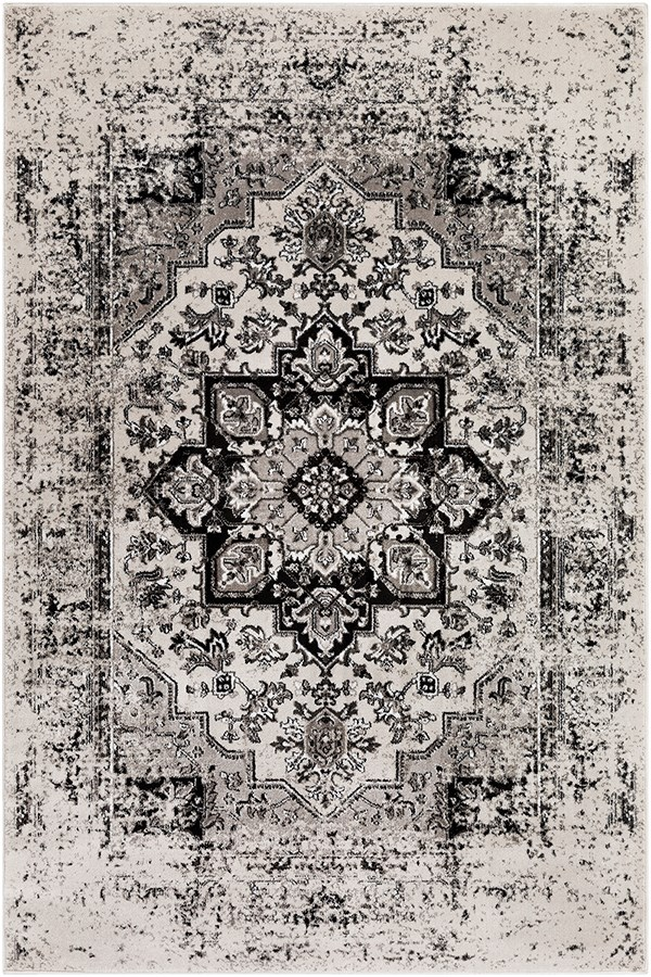Black, Ivory, Medium Gray Vintage / Overdyed Area Rug