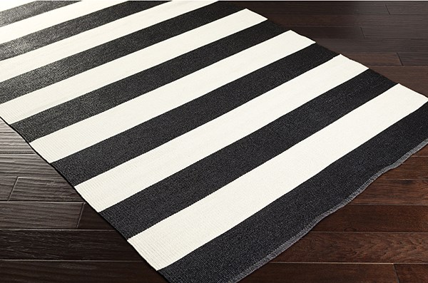 Black, Ivory Outdoor / Indoor Area Rug