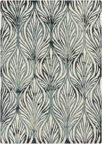 Teal, Ivory, Slate Floral / Botanical Area Rug