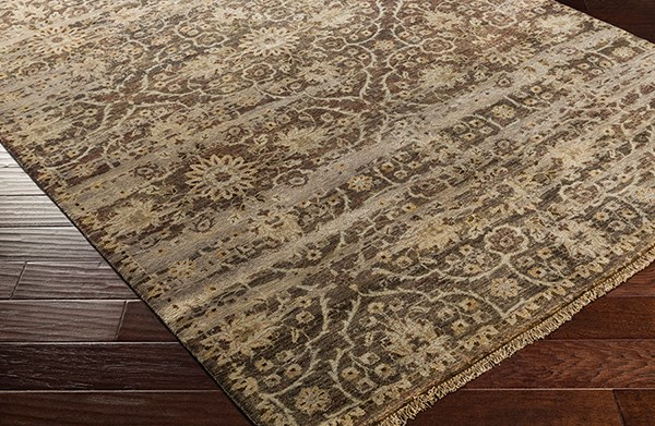 Dark Brown, Camel, Taupe, Ivory Vintage / Overdyed Area Rug