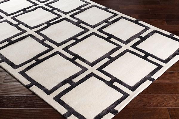 Black, Cream Geometric Area Rug