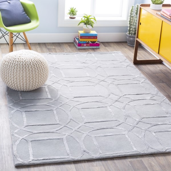 Light Grey Geometric Area Rug