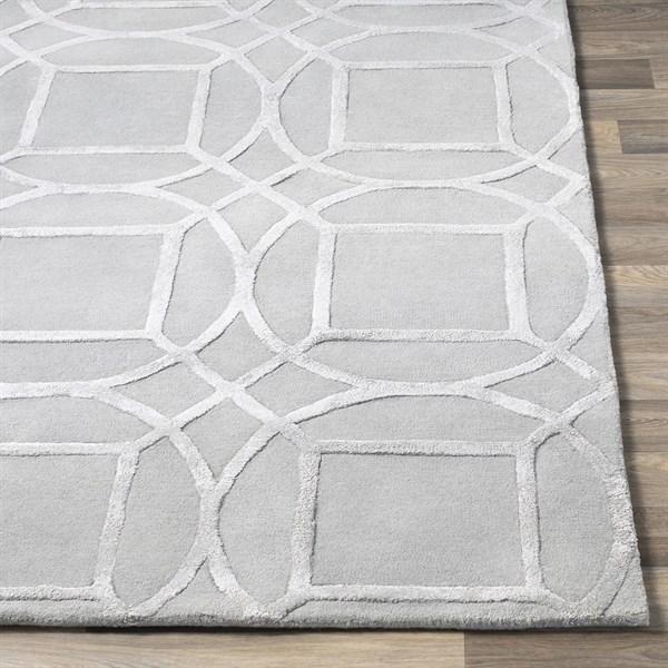 Light Grey Geometric Area Rug