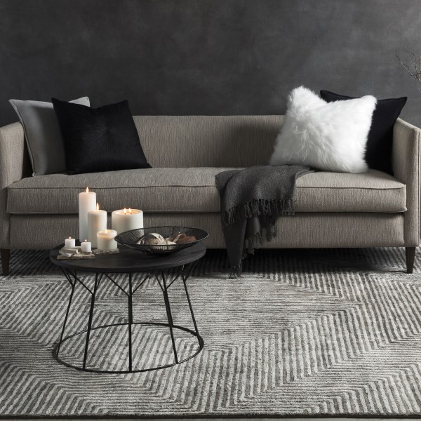 Light Grey, Charcoal Contemporary / Modern Area Rug