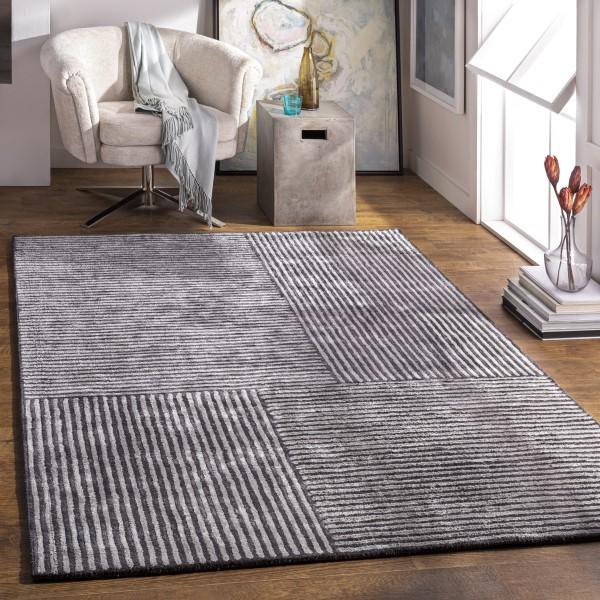 Black, Medium Grey (QTZ-5038) Contemporary / Modern Area Rug
