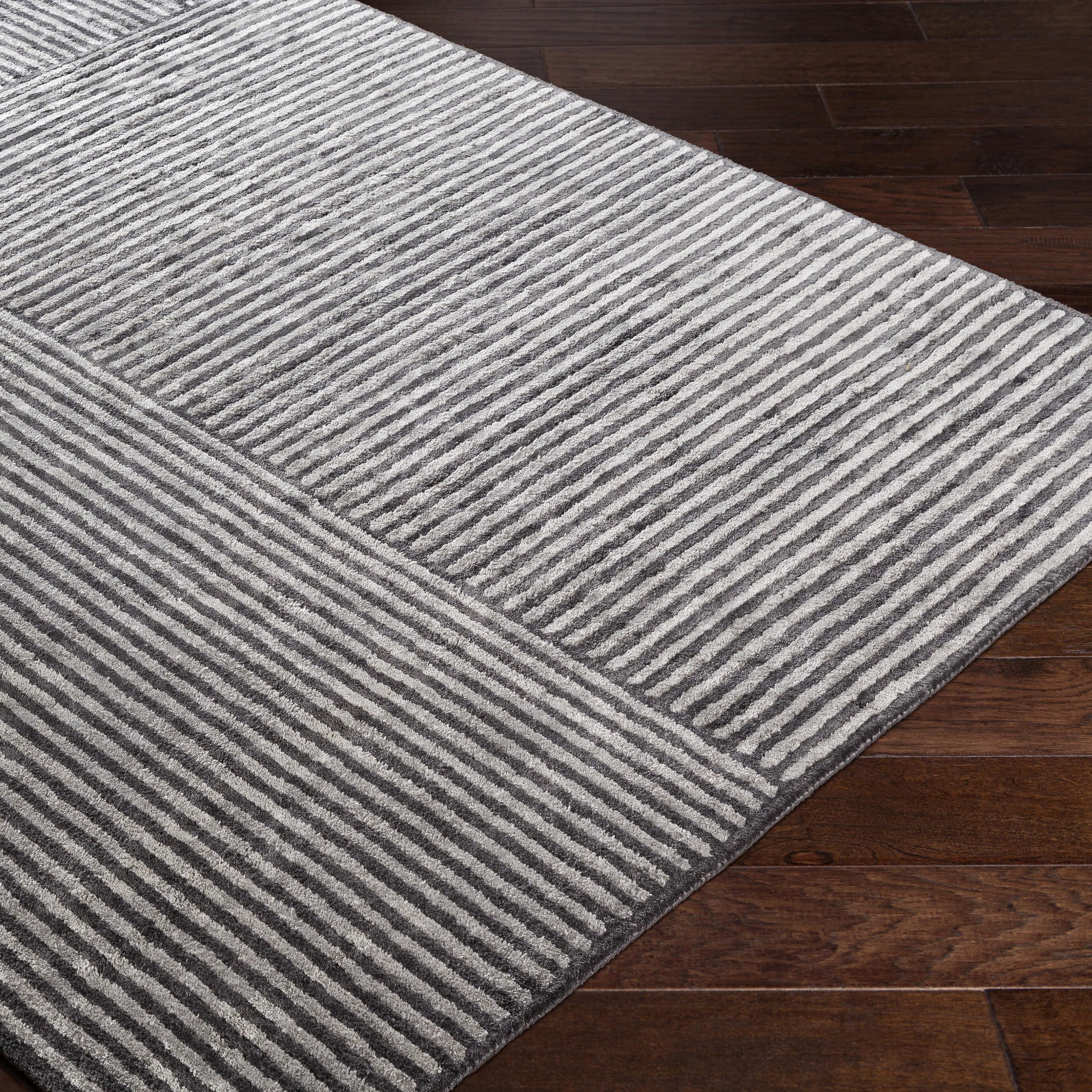 Black, Grey (QTZ-5038) Contemporary / Modern Area Rug