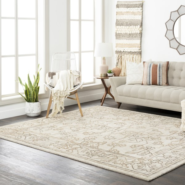 Light Grey, Camel, Dark Brown (HTW-3003) Traditional / Oriental Area Rug