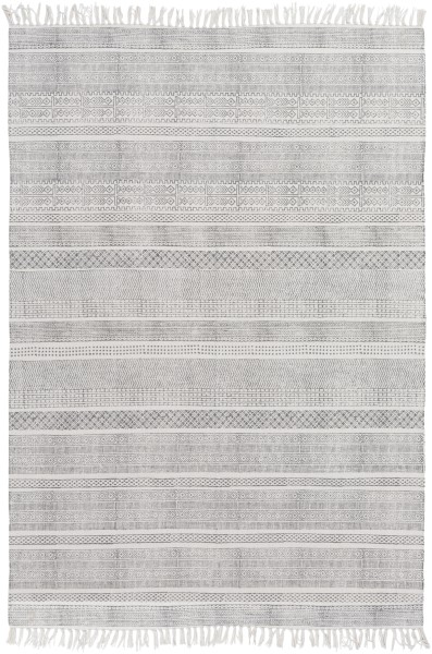Taupe, Ivory Striped Area Rug