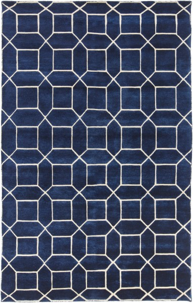 Navy, Ivory (KSY-9004) Contemporary / Modern Area Rug