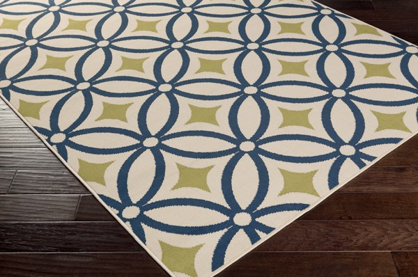 Ivory, Navy, Moss Moroccan Area Rug